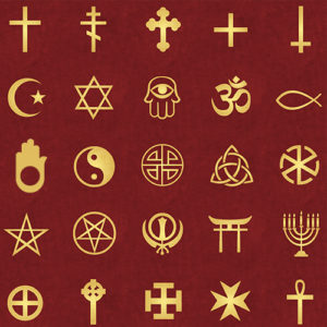 A collection of religious and faith-group symbols.