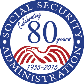 "The 80th Anniversary seal of Social Security. The seal has ""Celebrating 80 years"" written on it."