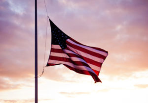 A flag flies at half-mast