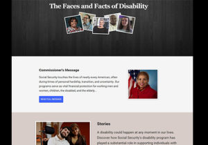 screen shot of the faces and facts of disability page