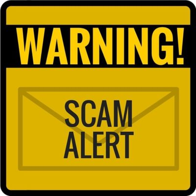 A graphic displaying the text: Warning! Scam Alert