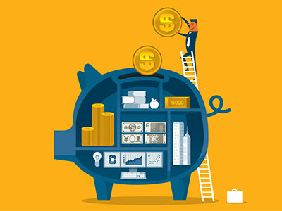 Clip art of a piggy bank and a small man standing on it dropping in coins
