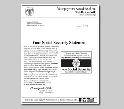 A sample Social Security Statement.