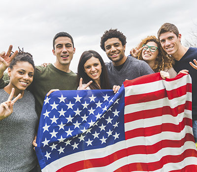 Multiethnic Group of Friends with United States Flag