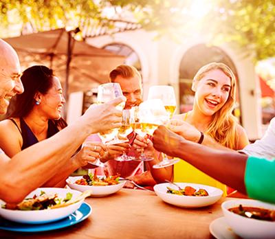 People enjoying a meal outside