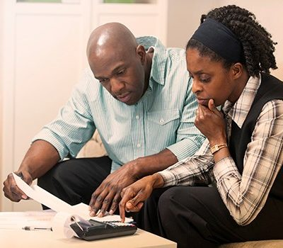 A couple doing finances together