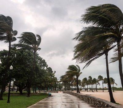 A beach during a storm
