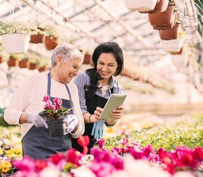 Two women picking flowers
