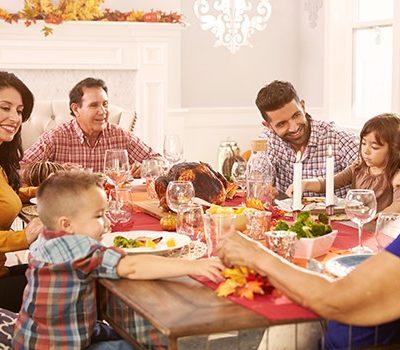 A family having dinner on Thanksgiving