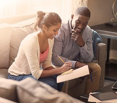 A couple doing finances together