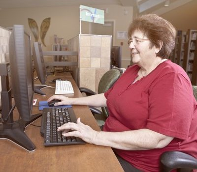 A woman on computer