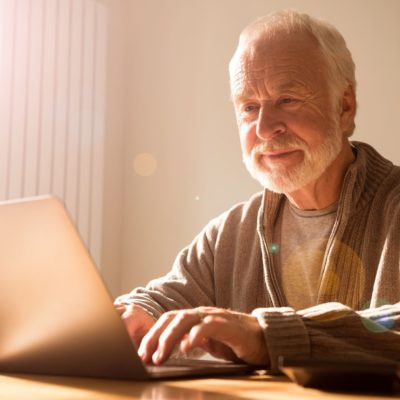 A man on computer