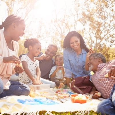 A family enjoying a picnic in a park