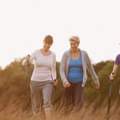 Three women hiking in the wilderness