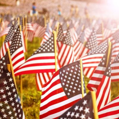 American Flags at in a graveyard in honor of Memorial Day