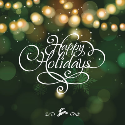 Text that reads: Happy Holidays