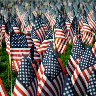 American Flags at in a graveyard in honor of Memorial Day