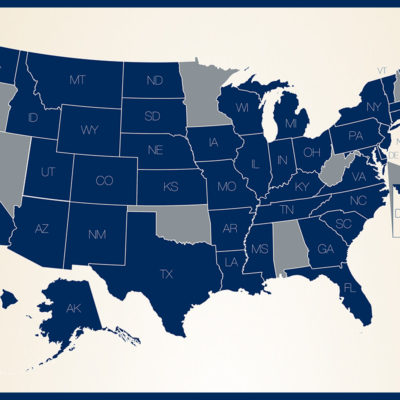 A graphic showing 43 states and DC where you can replace your Social Security Card via Online Services
