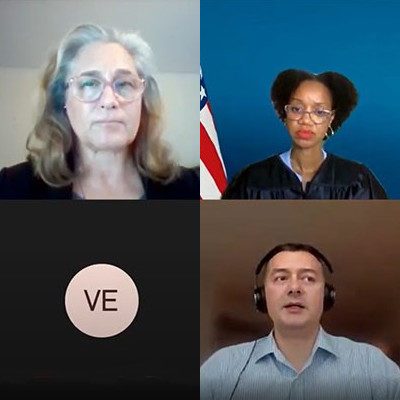 Online video hearing with four people